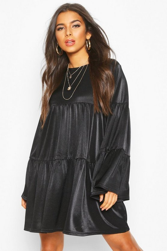 Womens Black Flared Sleeve Smock Dress
