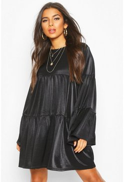 Black Flared Sleeve Smock Dress