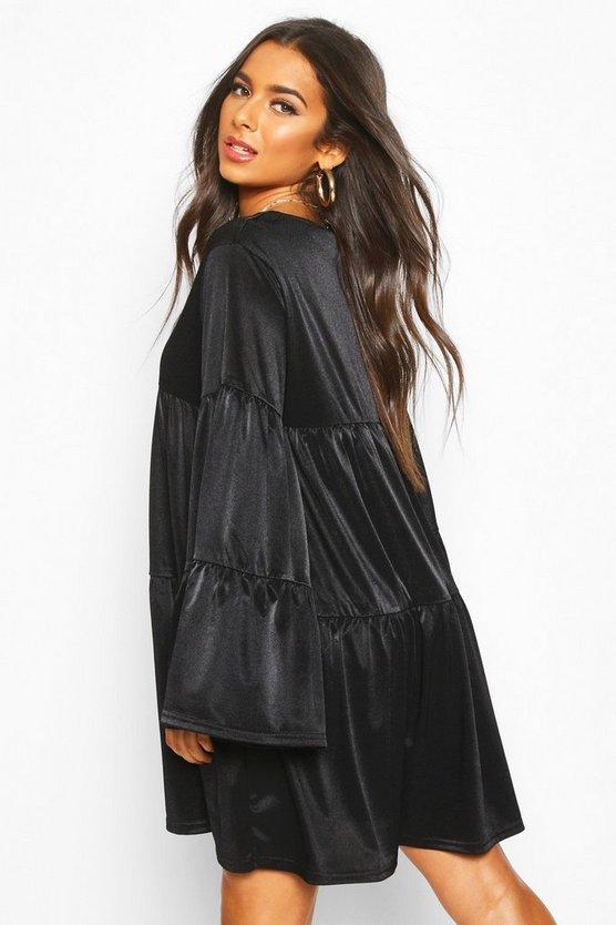 Flared Sleeve Smock Dress