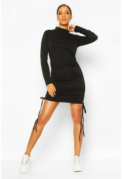 Black High Neck Ruched Sweatshirt Dress