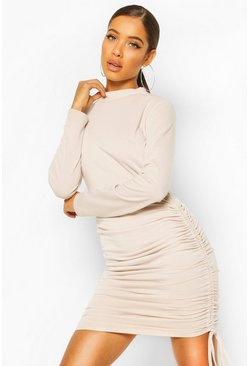 Stone High Neck Ruched Sweatshirt Dress