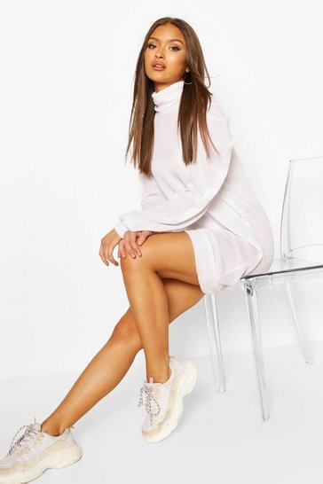 White Brushed Puff Sleeve Shift Dress