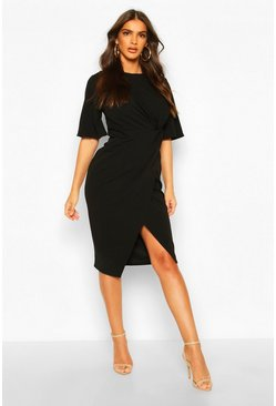 Black Flared Sleeve Twist Front Midi Dress