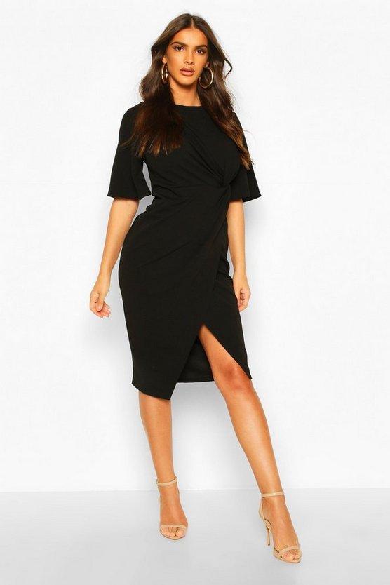 Flared Sleeve Twist Front Midi Dress