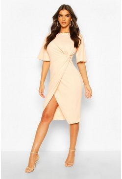 Nude Flared Sleeve Twist Front Midi Dress