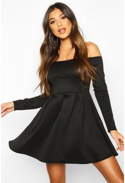 Dam Black Off The Shoulder Pleated Skater Dress