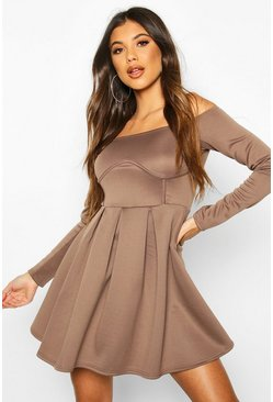 Mocha Off The Shoulder Pleated Skater Dress