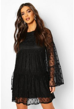 Womens Black Spot Mesh Smock Dress