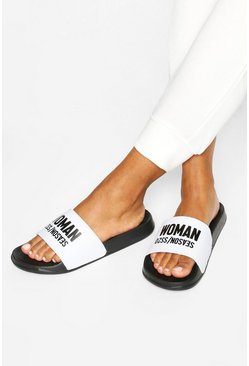 Mules à slogan Woman Season, Noir