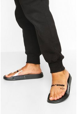 Black Clear Strap Woman Sliders