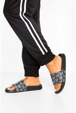 Black Repeat Print Woman Sliders
