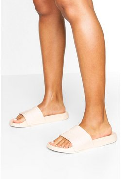 Embossed Woman Sliders, Nude