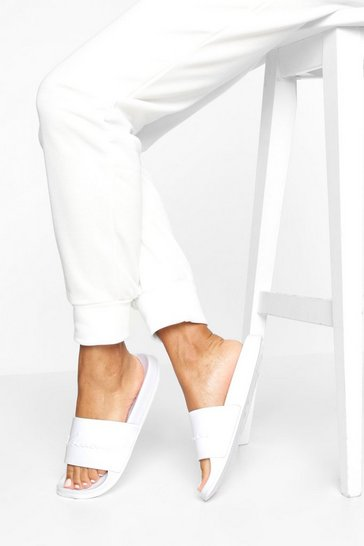 White Embossed Woman Sliders