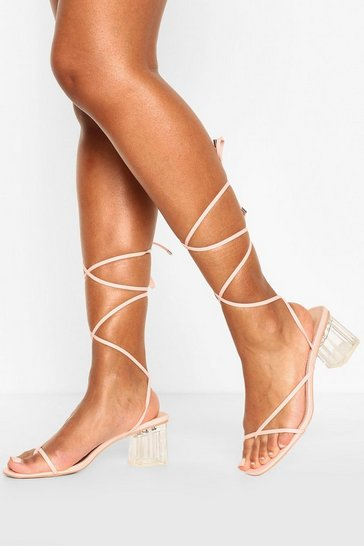 Pink Strappy Clear Low Block Heels