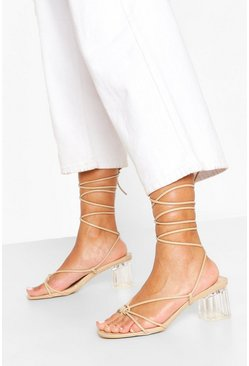 Nude Strappy Clear Low Heel Sandals