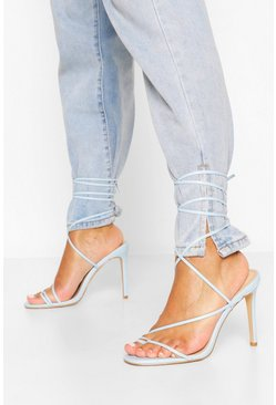 Blue Strappy Wrap Ankle Tie Heel Sandals