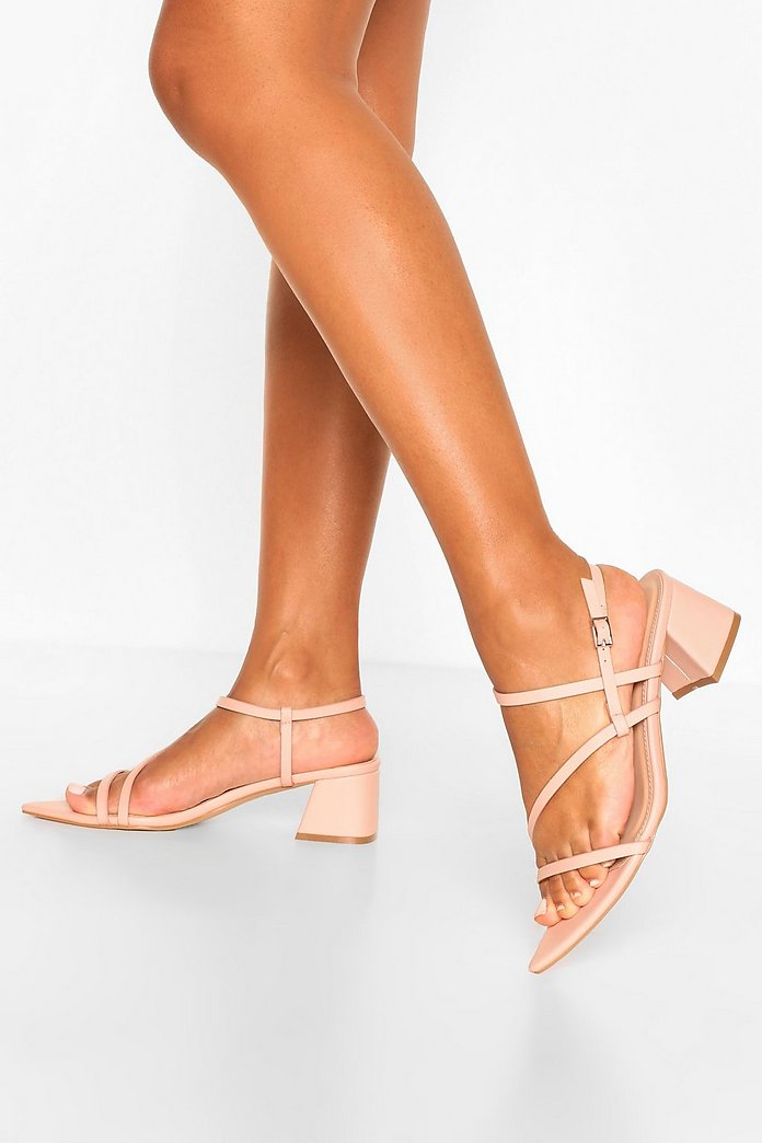 Pointed Strappy Low Block Heel Sandals | boohoo