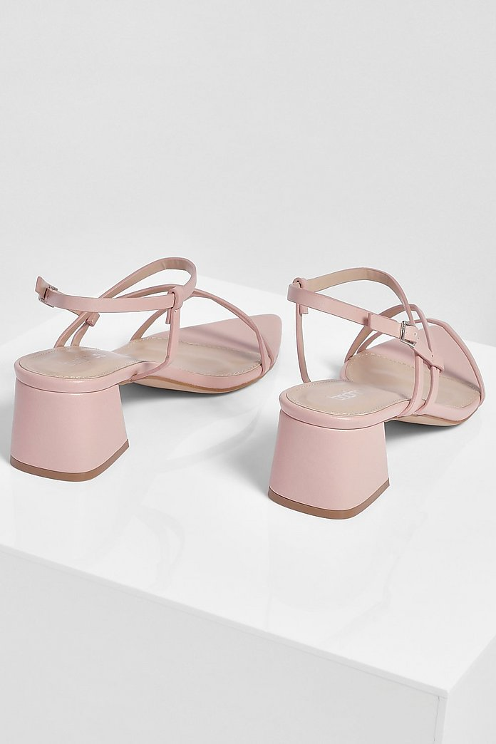 Pointed Strappy Low Block Heel Sandals | boohoo Australia