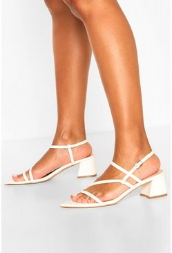 White Pointed Strappy Low Block Heel Sandals