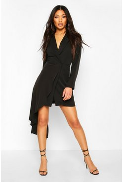 Black Waterfall Drape Blazer Bodycon Dress