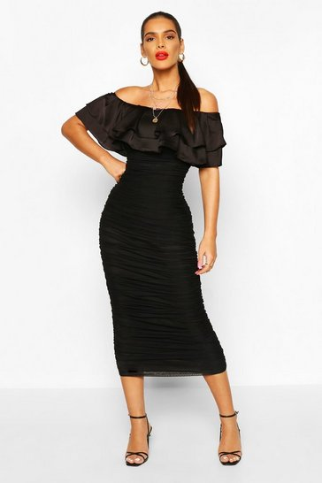 Black Off The Shoulder Frill Mesh Midi Dress