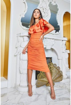 Off The Shoulder Frill Mesh Midi Dress, Orange