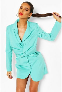 Twist Front Blazer Dress, Aqua