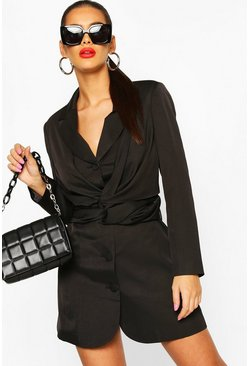 Black Twist Front Blazer Dress