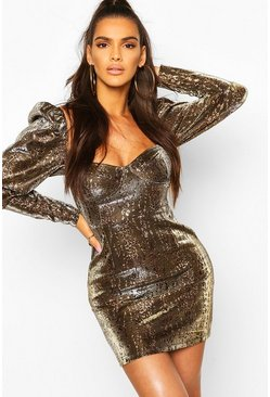 Brown Metallic Leopard Print Puff Sleeve Mini Dress