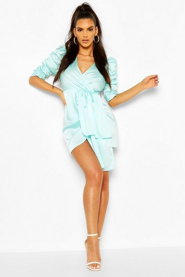 Aqua Satin Plunge Puff Sleeve Drape Mini Dress