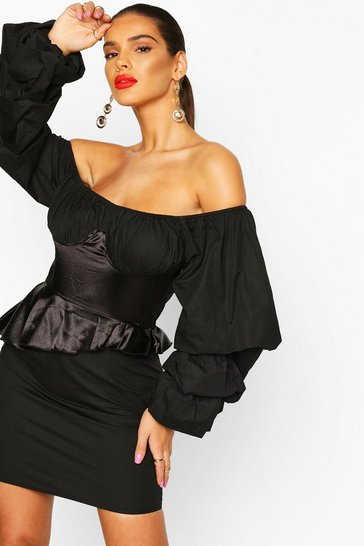 Black Off The Shoulder Peplum Corset Mini Dress