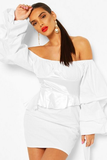 White Off The Shoulder Peplum Corset Mini Dress