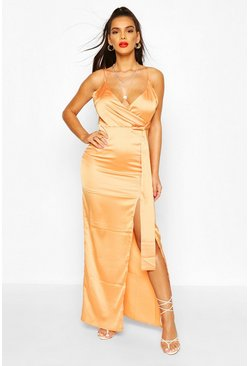 Satin Wrap Maxi Dress, Tangerine