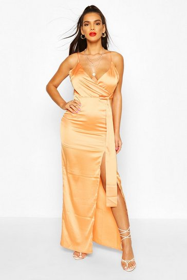 Tangerine Satin Wrap Maxi Dress