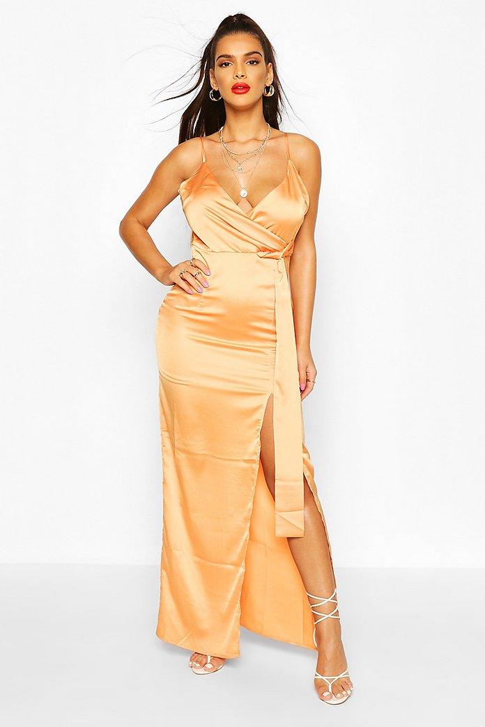 Satin wrap maxi dress