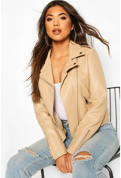 Beige Zip Detail Faux Leather Biker