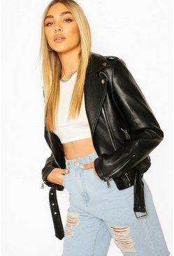 Zip Detail Faux Leather Biker, Black