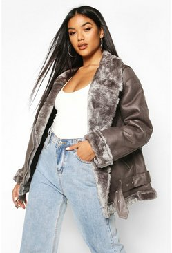 Grey Faux Fur Lined Aviator