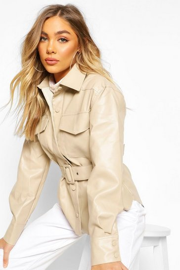 Beige Belted Faux Leather Jacket