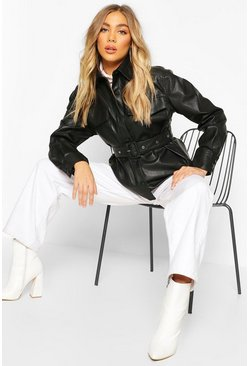 Womens Black Belted Faux Leather Jacket
