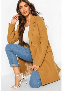 Double Breasted Wool Look Coat, Camel, ЖЕНСКОЕ