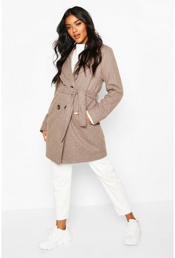 Chocolate Tonal Check Belted Wool Look Coat