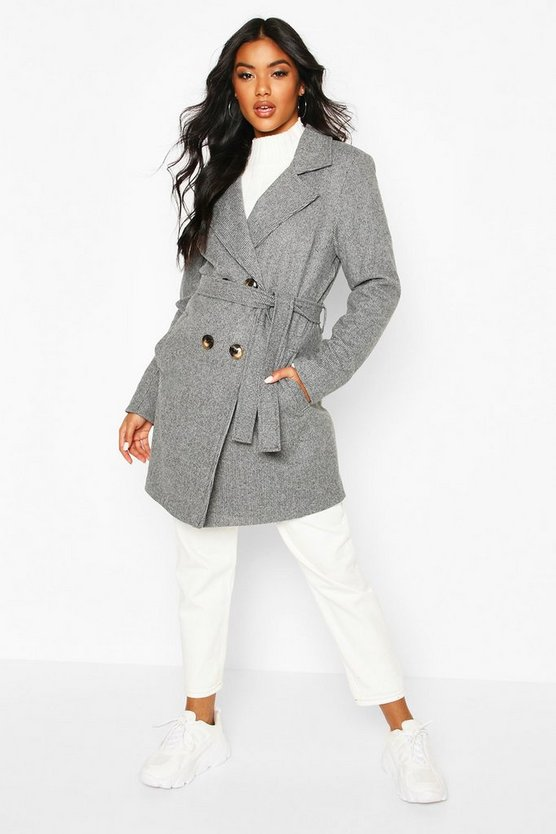 Grey Tonal Check Belted Wool Look Coat