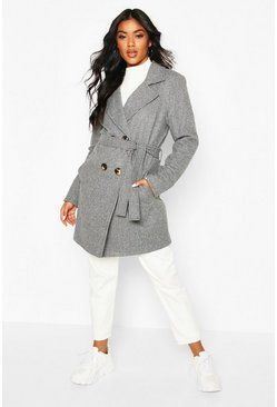 Tonal Check Belted Wool Look Coat, Grey