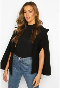 Double Breasted Cape, Black