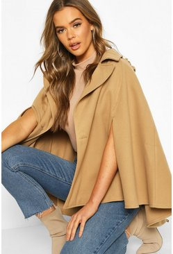 Womens Stone Double Breasted Cape