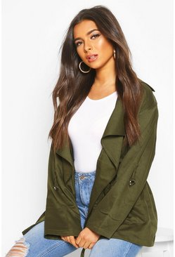 Womens Khaki Waterfall Utility Jacket