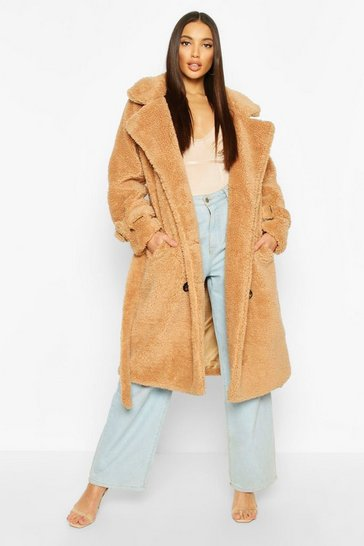 Womens Camel Teddy Faux Fur Trench Coat