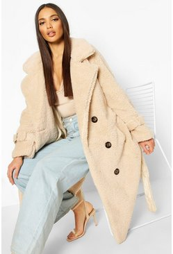 Fake-Fur-Teddy-Trenchcoat, Creme