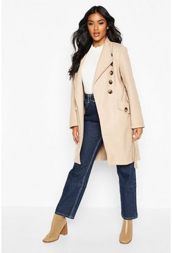 Stone Belted Pocket Detail Wool Look Coat